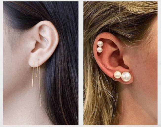 Как носить несколько серег на одном ухе