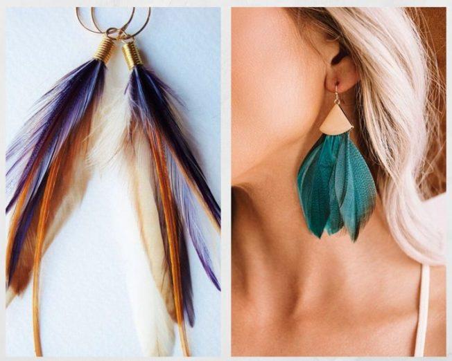 Серьги с перьями — яркие, легкие, нежные