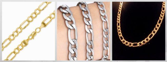 плетение Фигаро цепи браслеты