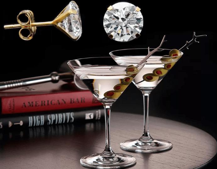 Пусеты в стиле мартини: минимум линий