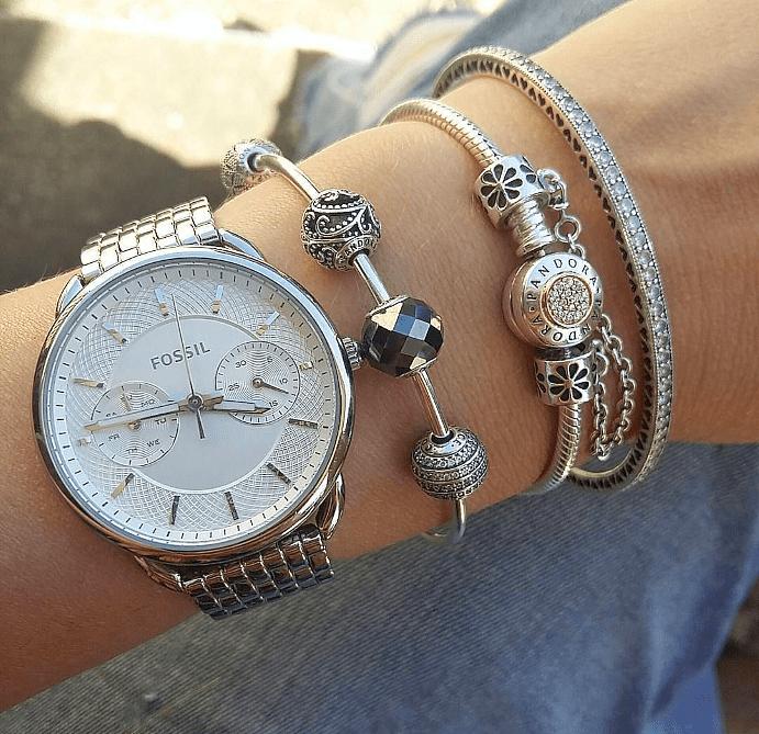 Как носить вместе браслет Пандора с часами?