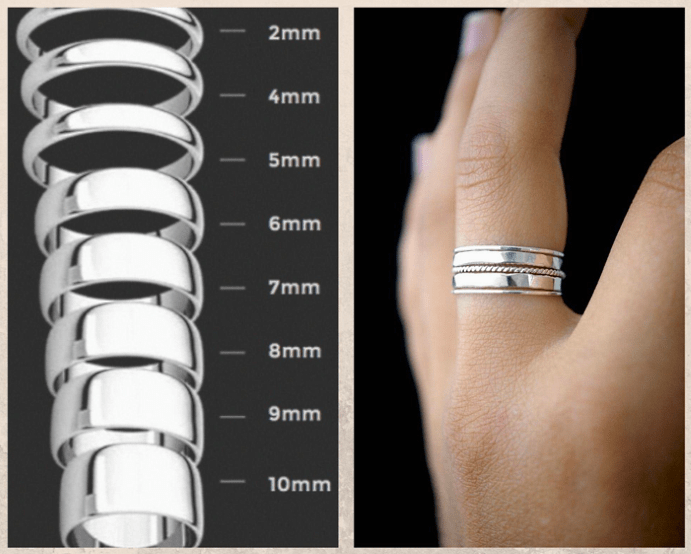 Как выбрать ширину кольца: помолвочного, обручального, декоративного. Широкие кольца.