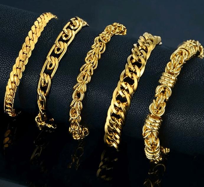 Разные виды золотых браслетов для женщин
