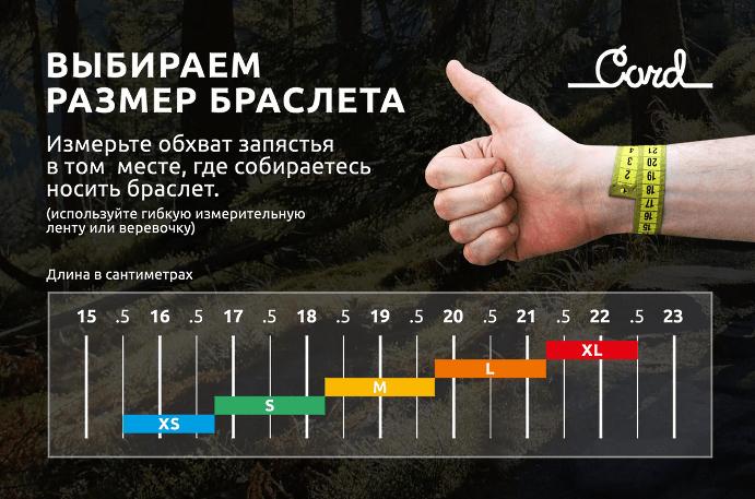 Таблица размеров браслетов на руку