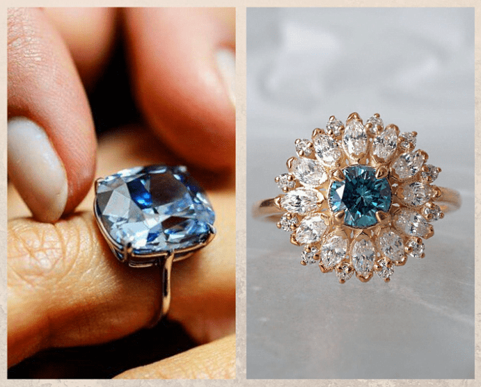 Голубой алмаз — идеальный камень для помолвочного кольца. Облагораживание и синтез. Стоимость