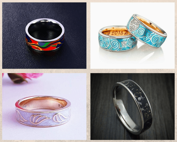 Обручальные кольца с эмалью — для самых ярких пар. Что такое ювелирная эмаль