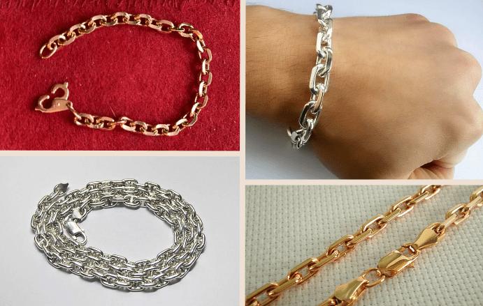 якорное плетение, браслет – соединение звеньев цепи происходит перпендикулярно