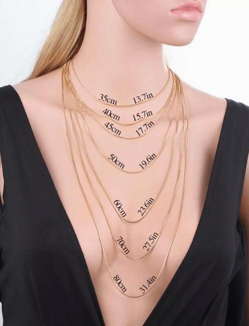 Таблица размеров женских цепочек на шею