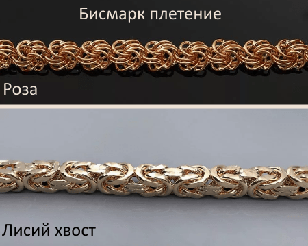 Виды плетения бисмарк цепей и браслетов для женщин: роза, лисий хвост