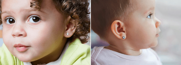 Какие варианты дизайна сережек предлагают магазины в 2020 году для девочек до 3 лет