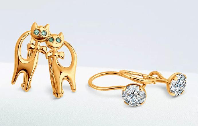 Красивые золотые серьги для девочек: обзор украшений