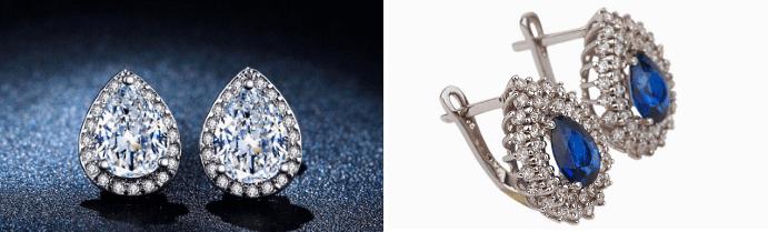Золотые серьги с бриллиантами: лучшие идеи 2020. Серьги-капли