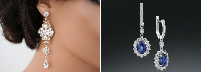 Золотые серьги с бриллиантами: лучшие идеи 2020. Серьги-люстры (шандельеры)