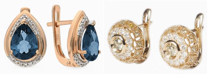 Серьги с бриллиантами, один драгоценный камень дополнен россыпью множества мелких, один из трендов 2020
