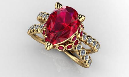 Обзор ассортимента украшений с рубином в золоте. Золотое кольцо с бриллиантами и рубином