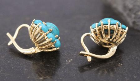 Варианты украшений с бирюзой в золоте. Серьги