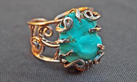 Варианты украшений с бирюзой в золоте. Кольцо