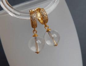 Золотые украшения с горным хрусталем
