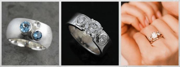 Модные обручальные кольца 2020 года. Три камня