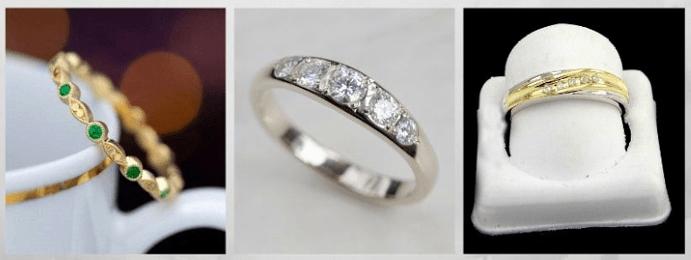 Модные обручальные кольца 2020 года. Пять камней