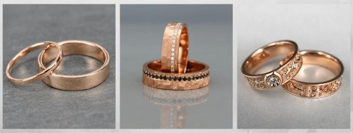 Модные обручальные кольца 2020 года. Розовое золото