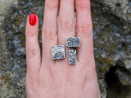 Необычные варианты дизайна украшений из серебра. Серебряные квадратные кольца