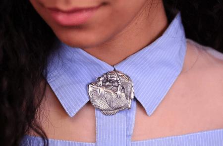 Необычные варианты дизайна украшений из серебра. Женская серебряная брошь рыба