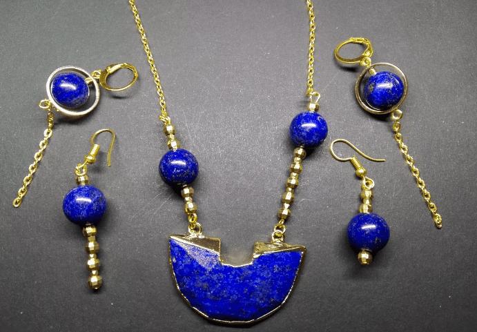 Золотые украшения с лазуритом