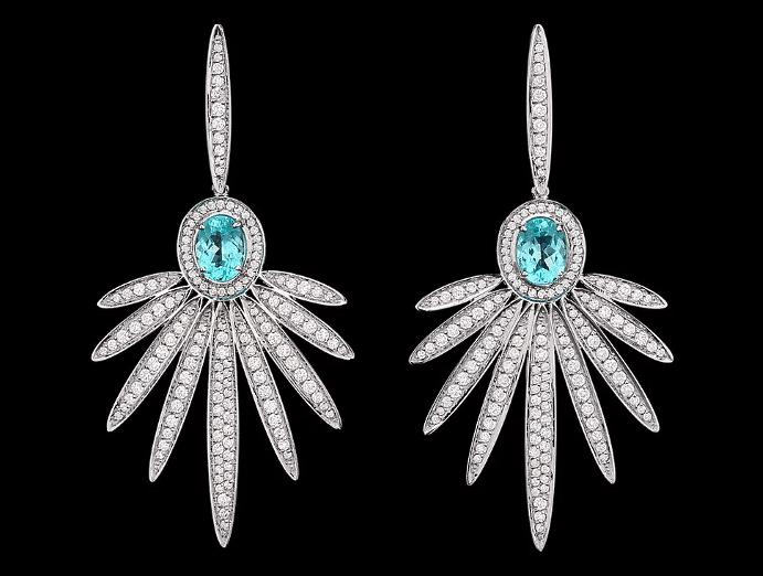 Примеры украшений с турмалином Параиба. Серьги с бриллиантами и турмалином параиба