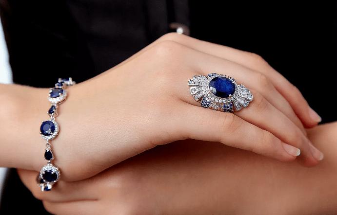 Украшения с сапфирами, браслет и кольцо