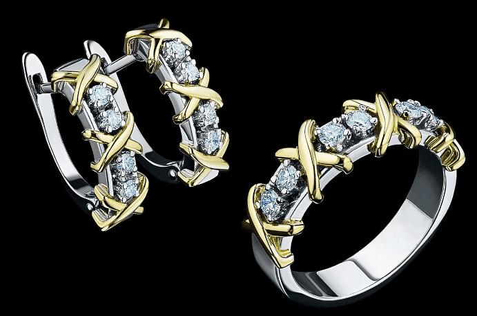 Ювелирные украшения с якутскими бриллиантами. Кольцо и серьги