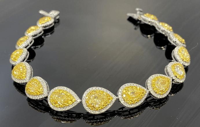 Виды и особенности украшений с желтыми бриллиантами. Колье