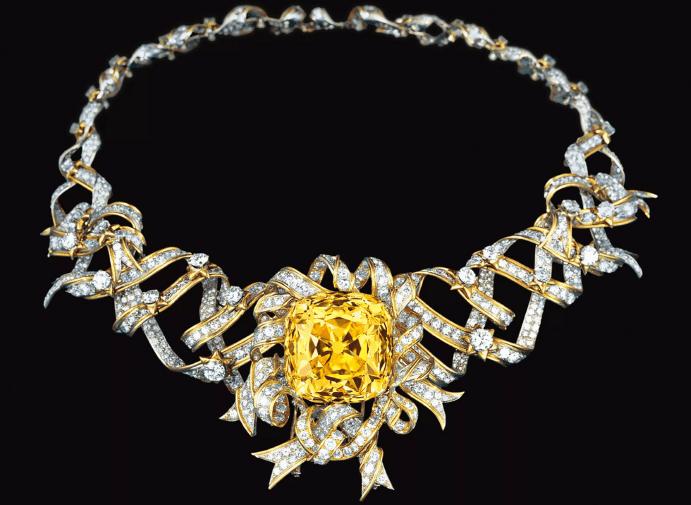 Виды и особенности украшений с желтыми бриллиантами. Ожерелье колье