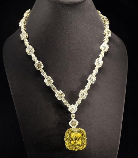 Виды и особенности украшений с желтыми бриллиантами. Кулон с бриллиантами
