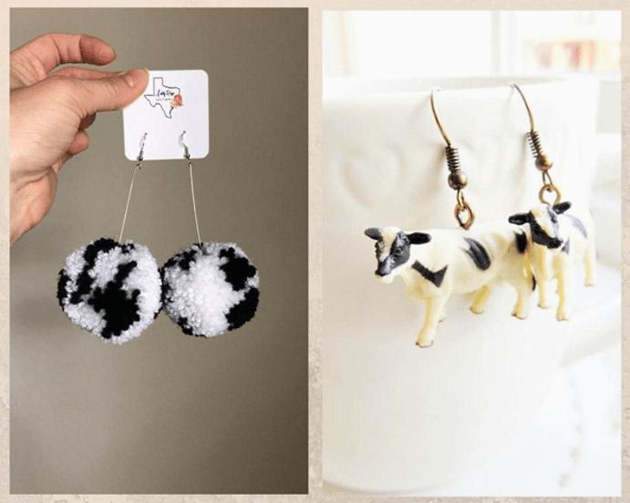 Ювелирные украшения с белым Быком. Серьги