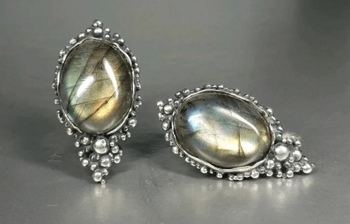 Украшения с лабрадором в серебре. Винтажные серебряные серьги