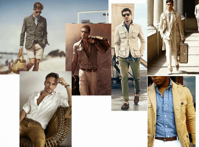 Украшения, одежда, аксессуары для мужчин в стиле сафари