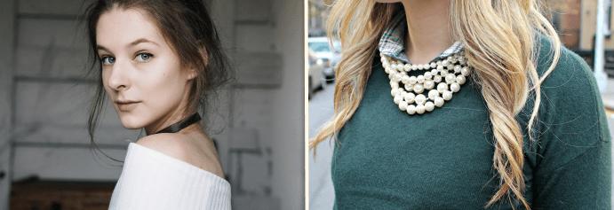 Сочетание жемчужной нити со свитером, чокер