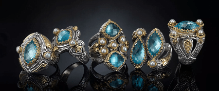 Элитные ювелирные украшения. Дизайнерские кольца с топазами и жемчугом