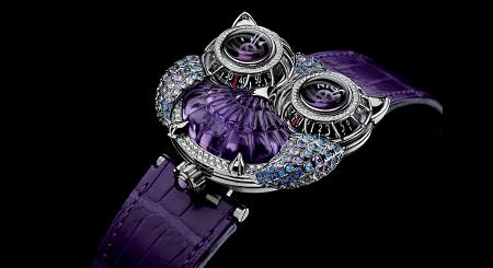 Элитные ювелирные украшения. Часы с бриллиантами и аметистами, сова