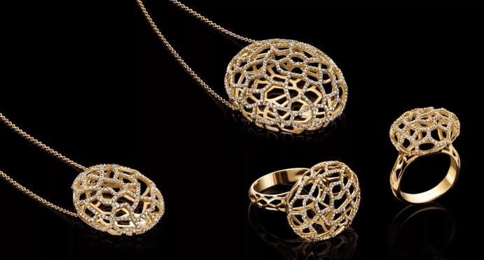 Итальянские ювелирные украшения. Золотая коллекция, кулон и кольцо