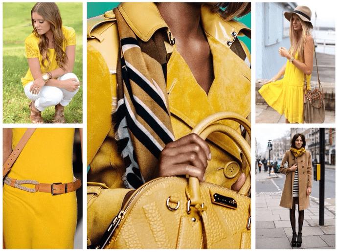 Сочетание желтого цвета и теплых оттенков в одежде с золотыми ювелирными изделиями