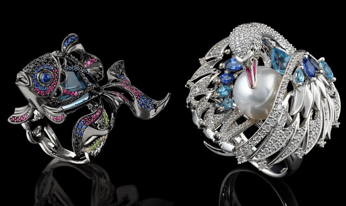 Эксклюзивные ювелирные украшения с драгоценными камнями. Кольцо рыба с бриллиантами и драгоценными камнями, лебедь с жемчугом