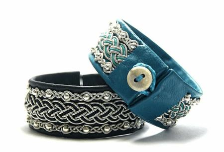 Украшения в скандинавском стиле. Кожаные узорчатые браслеты