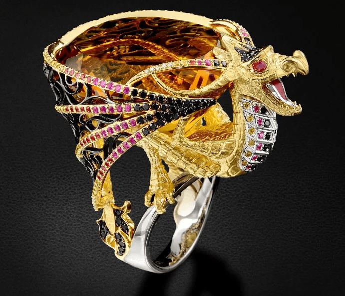 Китайские украшения: особенности изделий. Перстень дракон из драгоценных камней
