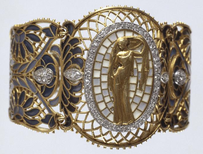 Украшения в стиле модерн. Золотой браслет с бриллиантами, фигура женщины