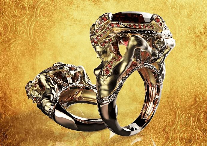 Украшения в стиле модерн. Золотые кольца с рубинами
