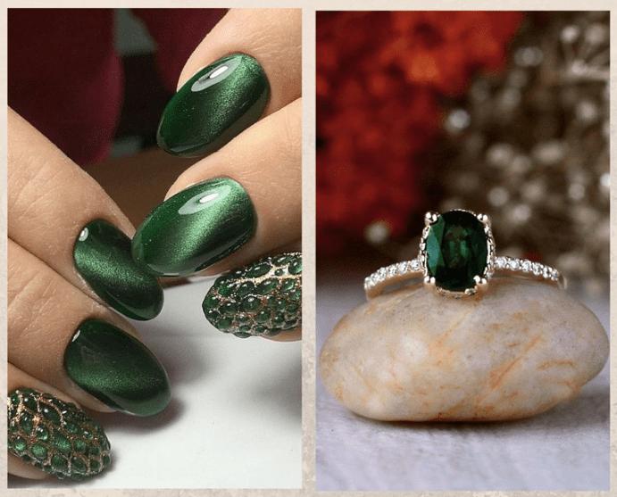 Как выбрать украшения под цвет лака для ногтей. Зеленый