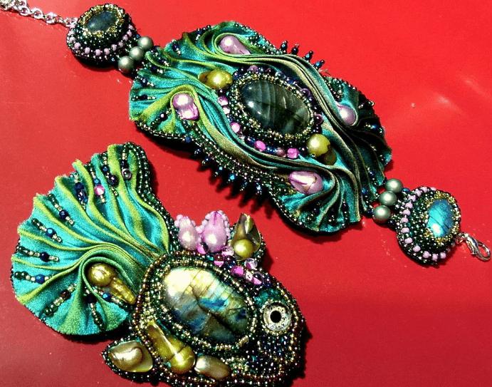 Украшения шибори – новое направление в Hand Made. Комплект украшений, зеленый браслет, брошь рыба