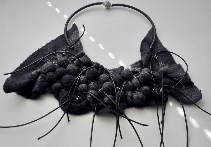 Украшения шибори – новое направление в Hand Made. Черный браслет, ободок, украшение на шею